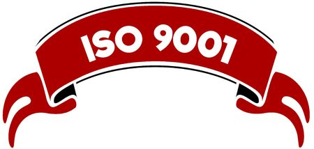 ISO 9001 on red band. Illustration graphic concept image Stock Photo