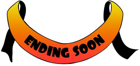 Orange ribbon withENDING SOON text. Illustration concept image