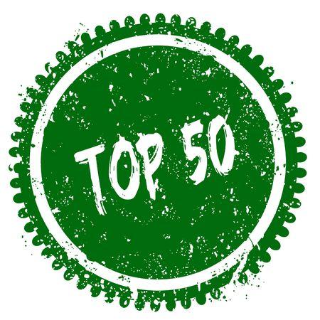 TOP 50 round grunge green stamp. Illustration concept