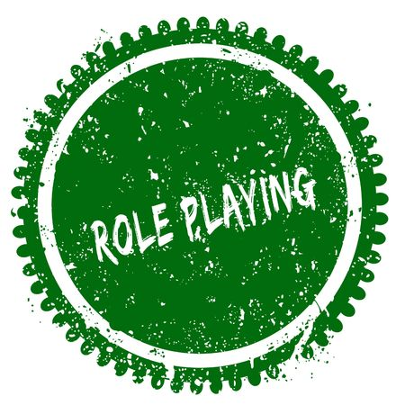 ROLE PLAYING round grunge green stamp. Illustration concept Stock Photo