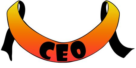 Orange ribbon withCEO text. Illustration concept image