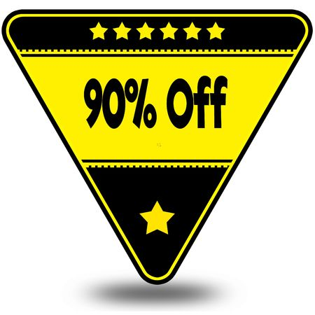 90 PERCENT OFF on black and yellow triangle with shadow. Illustration Stock Photo
