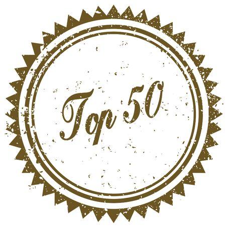 Brown TOP 50 grunge stamp. Illustration image concept