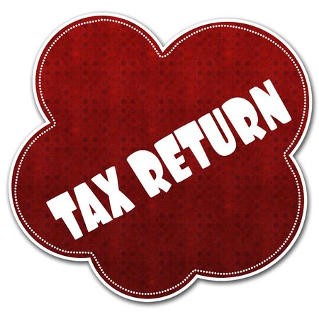 Red pattern cloud with TAX RETURN text written on it illustration.