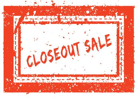 CLOSEOUT SALE on orange square frame rubber stamp with grunge texture. Illustration Stock Photo