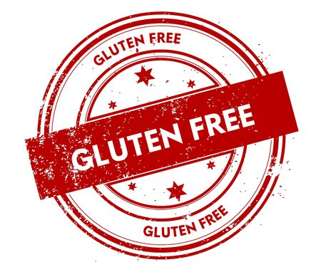 GLUTEN FREE distressed red stamp. Illustration graphic concept