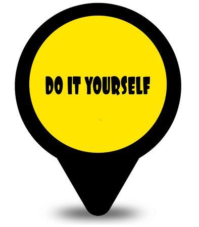 Het gele ontwerp van de plaatswijzer met DOE HET ZELF tekstbericht. Illustratie Stockfoto - 93303583