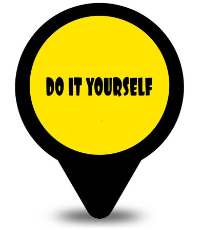 Yellow location pointer design with DO IT YOURSELF text message. Illustration Stockfoto