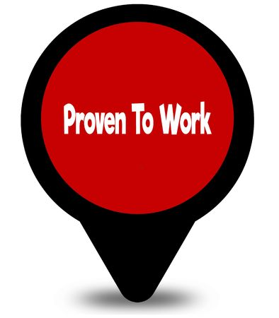 PROVEN TO WORK on red location pointer illustration graphic