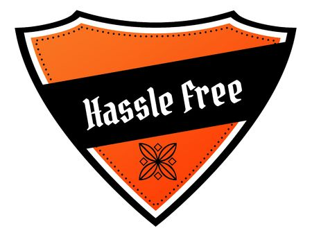 Orange and black shield with HASSLE FREE text. Illustration