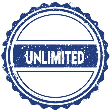 UNLIMITED stamp. sticker. seal. blue round grunge vintage ribbon sign. illustration 版權商用圖片