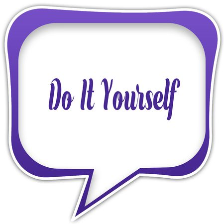 Do it yourself message on speech cloud graphic green background violet square speech bubble with do it yourself text message illustration illustration solutioingenieria Choice Image