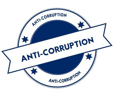 Blue ANTI CORRUPTION stamp. Illustration graphic concept image