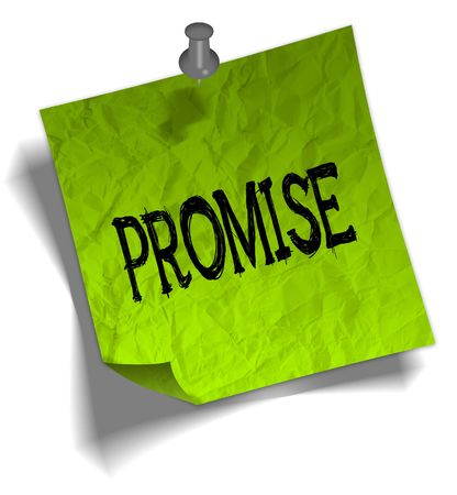 Green note paper with PROMISE message and push pin graphic illustration. Stock Photo