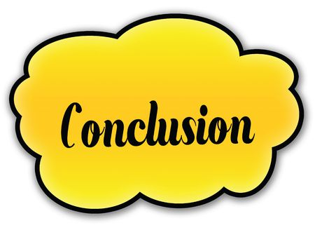 CONCLUSION handwritten on yellow cloud with white background. Illustration