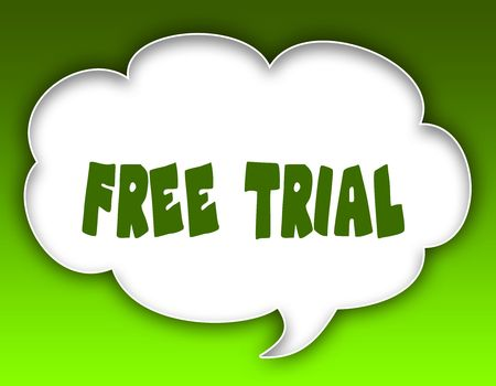 FREE TRIAL message on speech cloud graphic. Green background. Illustration Stock Photo