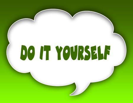 DOE HET ZELF bericht op grafische spraakwolk. Groene achtergrond. Illustratie Stockfoto - 93306859