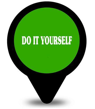 DOE HET ZELF op een groene locatie-aanwijzerafbeelding. Illustratie