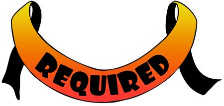 Orange ribbon withREQUIRED text. Illustration concept image