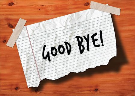 GOOD BYE   handwritten on torn notebook page crumpled paper on wood texture background. Illustration Stock Photo