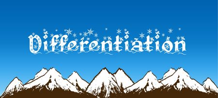 DIFFERENTIATIE geschreven met sneeuwvlokken op blauwe hemel en besneeuwde bergen achtergrond. Illustratie