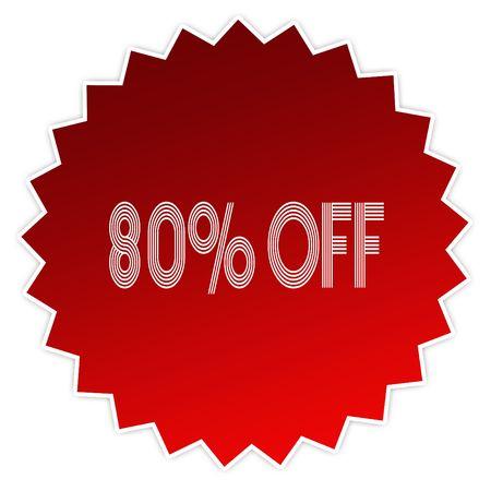 80 PERCENT OFF on red sticker label. Illustration graphic design concept image