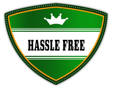 HASSLE FREE written on green shield with crown. Illustration Reklamní fotografie
