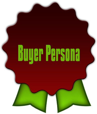 BUYER PERSONA on red seal with green ribbons. Illustration