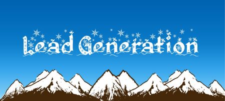 LEAD GENERATION written with snowflakes on blue sky and snowy mountains background. Illustration