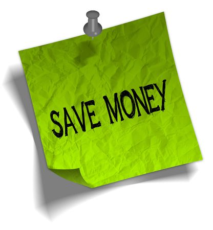 Green note paper with SAVE MONEY message and push pin graphic illustration.