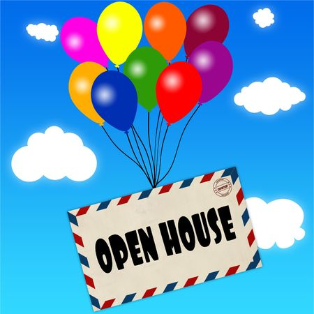 Envelope with OPEN HOUSE message attached to multicoloured balloons on blue sky and clouds background. Illustration Banque d'images