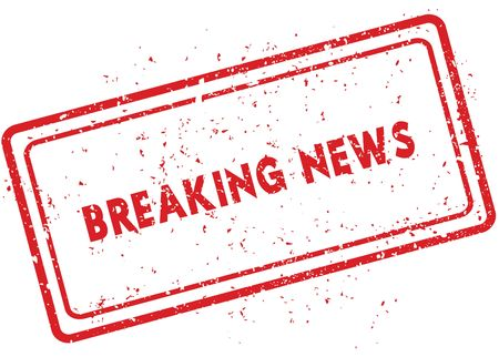 Red BREAKING NEWS rubber stamp. Illustration graphic image concept Stock Photo