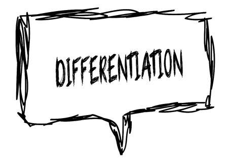 DIFFERENTIATIE op een potlood geschetst teken. Illustratie grafisch concept.
