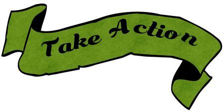 アクショングリーンリボンを取ります。イラストグラフィックコンセプトイメージ