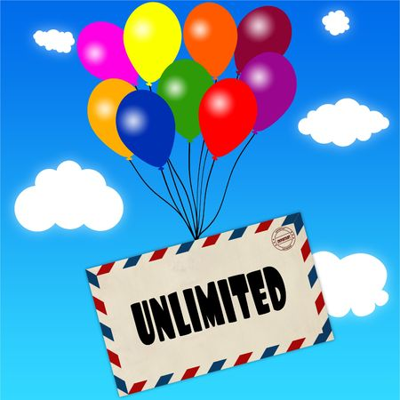 Envelope with UNLIMITED message attached to multicoloured balloons on blue sky and clouds background. Illustration