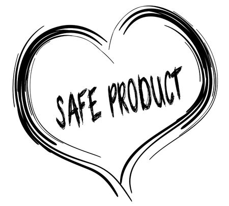 Sketched black heart with SAFE PRODUCT text. Illustration graphic concept Stockfoto