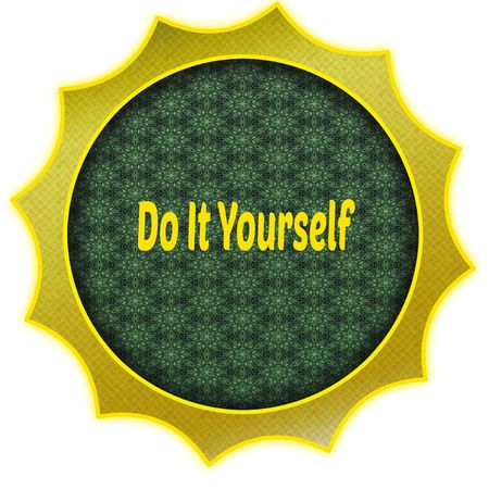 Golden badge with DO IT YOURSELF text. Illustration graphic design concept image Stockfoto