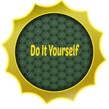 Gouden badge met DOE HET ZELF tekst. Afbeelding van het illustratie grafische ontwerpconcept Stockfoto