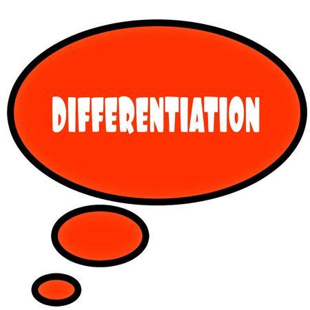 Oranje tekstballon met DIFFERENTIATION tekstbericht. Illustratie