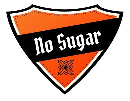 Orange and black shield with NO SUGAR text. Illustration Stock Photo