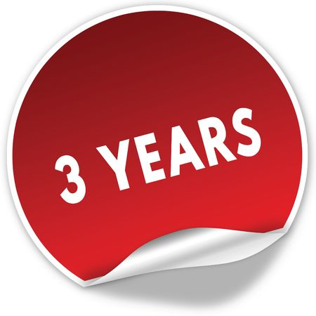 3 YEARS text on realistic red sticker on white background. Illustration