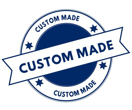 Blue CUSTOM MADE stamp. Illustration graphic concept image
