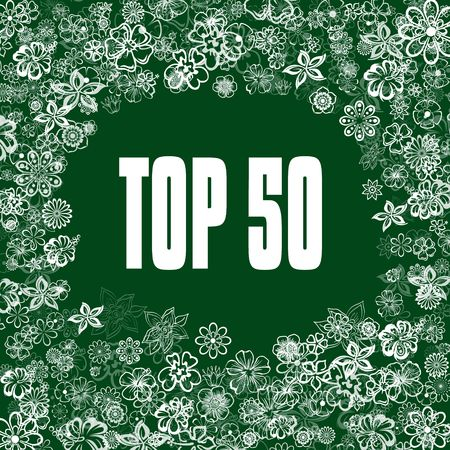 TOP 50 on green banner with flowers. Illustration image concept Stock Photo