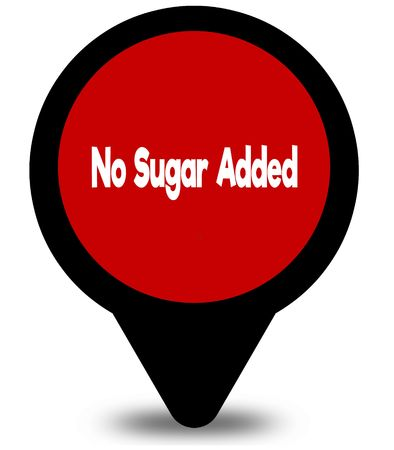 NO SUGAR ADDED on red location pointer illustration graphic Stock Photo