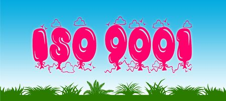 ISO 9001 written with pink balloons on blue sky and green grass background. Illustration Stock Photo