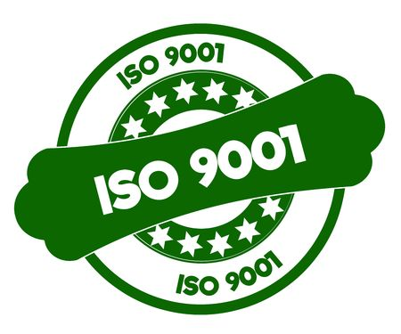 ISO 9001 green stamp. Illustration graphic concept image