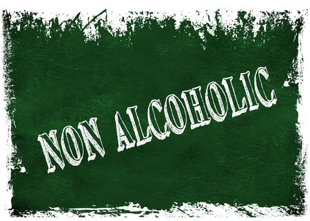 Green grunge chalkboard with NON ALCOHOLIC text. Illustration graphic Stock Photo