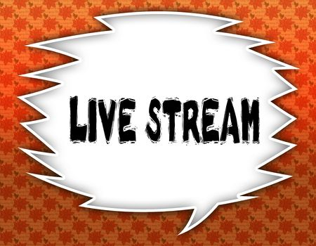 Speech balloon with LIVE STREAM text. Flowery wallpaper background. Illustration