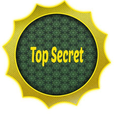 Golden badge with TOP SECRET text. Illustration graphic design concept image