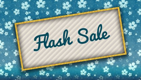 Painting with FLASH SALE message on blue wallpaper with flowers. Illustration Stockfoto